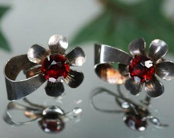 Earrings- Sterling and Red Glass Flower Earrings - Vintage Screwback