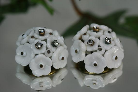 Vintage Goldtone and Milk Glass Flower Clip Earrings- West Germany
