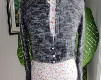 100 PERCENT Angora Rabbit Charcoal Marbled Grey Knit Bolero from hand spun yarn, Size S-M, Kate Middleton Sweater, Ready to ship