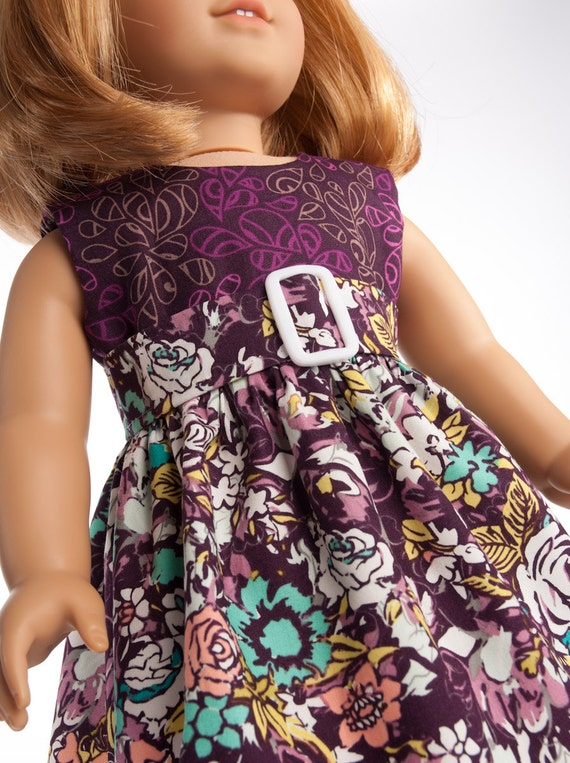 "18 Inch Doll Clothes Empire Dress for 18"" American Girl Dolls in Purple Violet Flowers by PattiKuz"