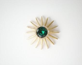 Vintage Green Starburst Brooch Rhinestone