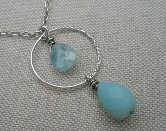 Oxidized Sterling Silver Necklace with Aquamarine and Aqua Blue Chalcedony Teardrop Dangles