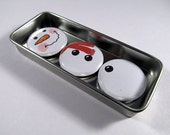 Snowman Magnets Set 1 / Christmas / Magnet Trio / Winter Trio - westwildwood