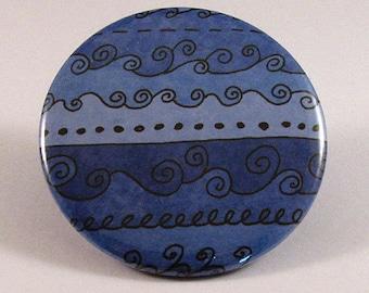 Blue waves pocket mirror