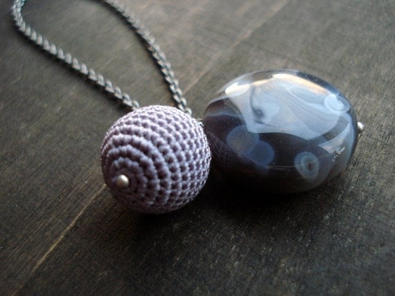 Crochet and a gemstone combination in grey and lila