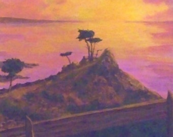 Lone Cypress Tree Painting Pacific Ocean Rocks Waters Sunset Rail Fence 11x14