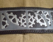 Handmade Leather STEAMPUNK WALLET  in Black, Grey and Silver