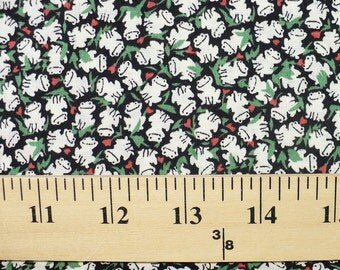 Frog fabric, 1/2 YARD, Vintage, green, black, small print, frogs, cotton, miniatures, OOP