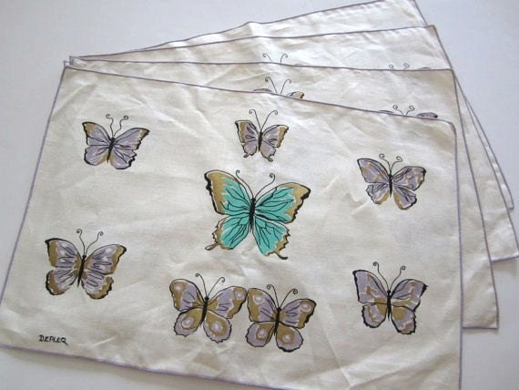 SOLD/RESERVED for KALEY 8 Vintage Place Mats Napkins Butterflies