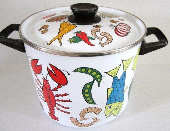 Vintage Stock Pot Enamel Vegetables Seafood