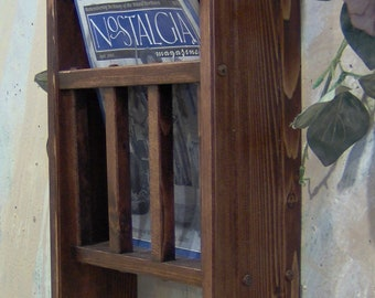 Red mahogany  Magazine Rack with Toilet Paper tissue Holder and shelf made in the USA