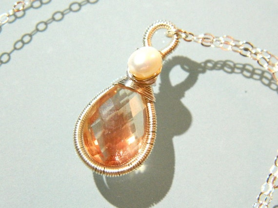 Gorgeous AAA Oregon Sunstone and freshwater pearl wire wrapped and coiled sterling silver pendant necklace