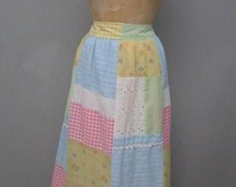 1970's patchwork maxi/patio skirt  size MEDIUM to LARGE