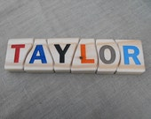Childs learning toy name puzzle handcrafted personalized solid wood