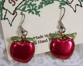 Hand Painted Red Apple Earrings, Brass Charm, Back to School Jewelry, Dangle Jewelry, Teachers Gift, School Room, Made in USA