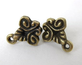 Antiqued Brass Ox Victorian Scroll Earring Post Ear Stud Earwires Vintage Style Finding erw0109 (2 pc, 1 pair)