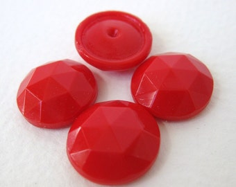 Vintage Glass Cabochons Cherry Red Faceted Round 14mm gcb0602 (4)