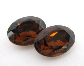 Vintage Glass Rhinestone Jewel Smoked Topaz Oval 18x13mm rhs0291 (2)