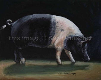 Hampshire Hog print from painting