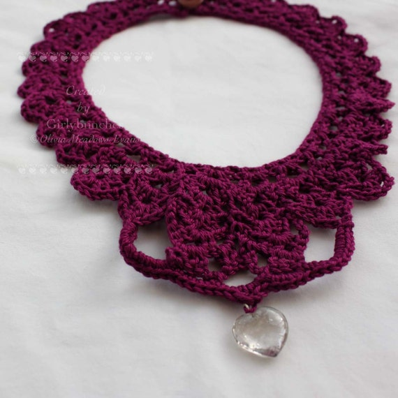 Plum Red Choker Crochet Necklace with Heart Charm