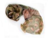 Hand painted silk chiffon scarf Green Ginkgo leaves-Green,beige,sands,hand painted silk scarf RESERVED to YIN QIN