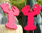 Lobster Love hers pearls his mustache wine bottle charm - bethsCraftroom