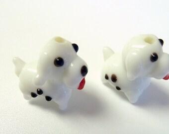 2 - White Puppy Dog Blown Glass Beads