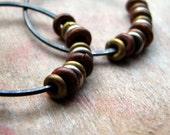 Hammered sterling silver hoop earrings with recycled metal beads tribal rustic earrings - Elemental