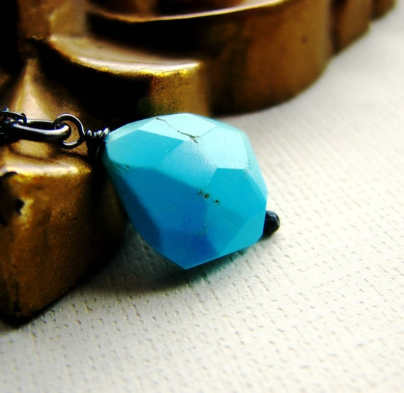 Turquoise nugget necklace sterling silver aqua blue tropical summer - Permanent Vacation