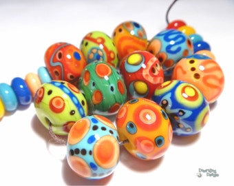COLOR BOBS Lampwork Beads Handmade Big Bright Colors Red Yellow Blue Green Orange Set of 23