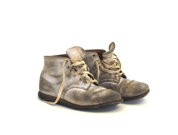 Boots for Baby - Vintage Shoes - Vintage Baby Shoes - Antique Baby Shoes - Vintage Leather - Rustic White Baby Shoes