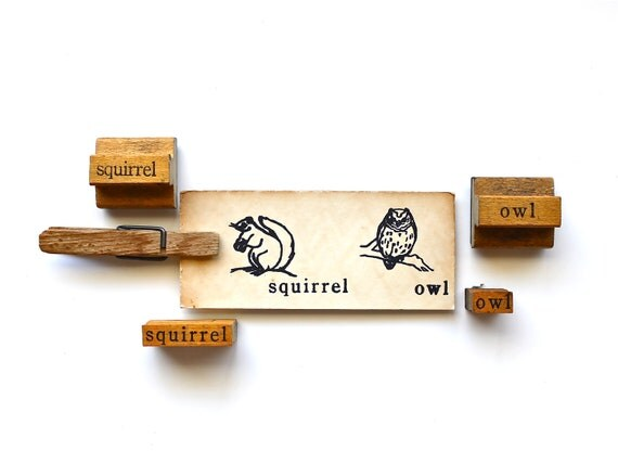 Cutest Creatures - Vintage Stamps - Wooden Mounted Owl and Squirrel Stamps and Matching Images