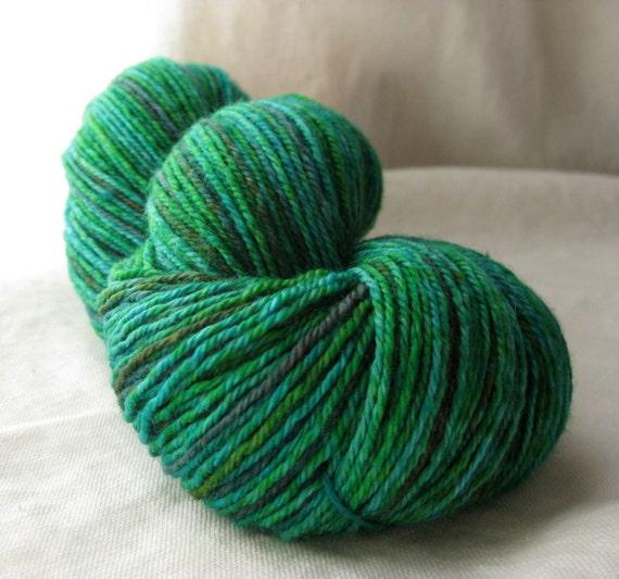 Handpainted Superwash Yarn: Verdigris on Avaze Sock 80/10/10