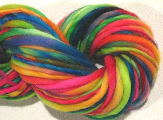 handspun yarn Fun House thick and thin bulky merino yarn, 55 yards, rainbow yarn, hand dyed merino wool waldorf doll hair