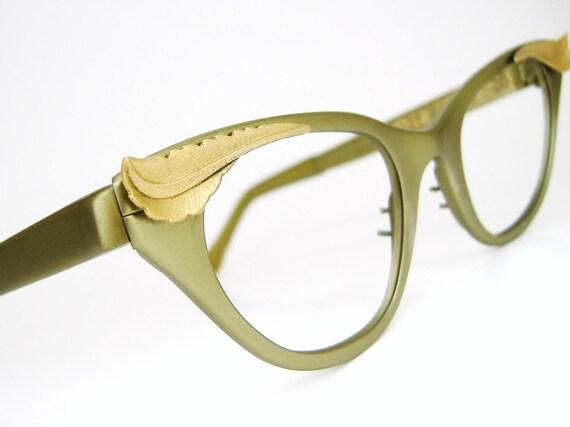 Vintage 50s Cat Eye Eyeglasses Tura Winged  Frame Green NOS