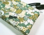 Sleepy Kitties - Small Cotton Canvas Zipper Pouch