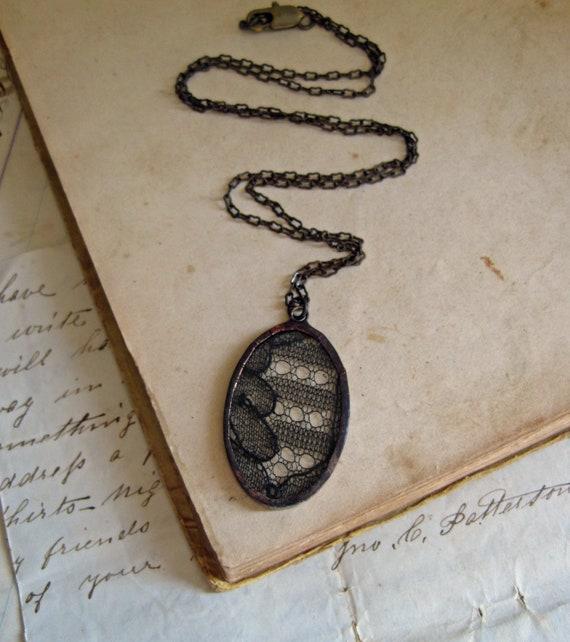 Mysterious Black Lace Necklace Vintage Wedding