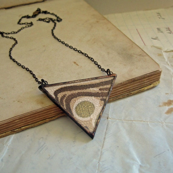 Triangle Necklace Vintage Fabric
