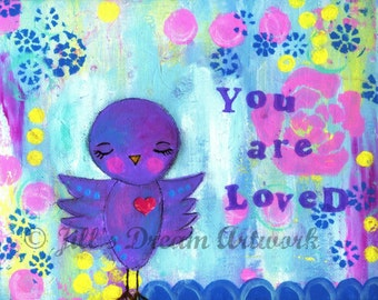 Purple Bird, You Are Loved, 8x10 Wall Art PRINT, Original Painting, Baby Girl Decor, Pink Flower