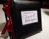 RESERVED Recipe Shower Kit - Black leather recipe album - you pick your accent color