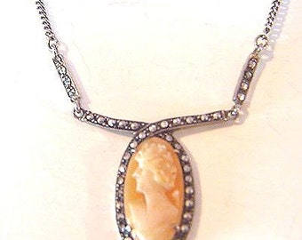 Vintage Sterling Silver 935 Shell Cameo Marcasite Necklace