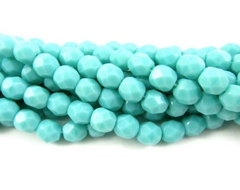 30 - Round Czech Fire Polished Faceted Glass Beads - Turquoise Blue - 6mm .