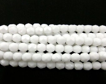30 - Round Czech Fire Polished Faceted Glass Beads - Chalk White - 6mm