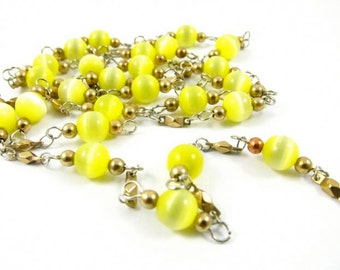 Vintage Synthetic Cat's Eyes Bead Chain - Yellow - 6mm - 2 Feet