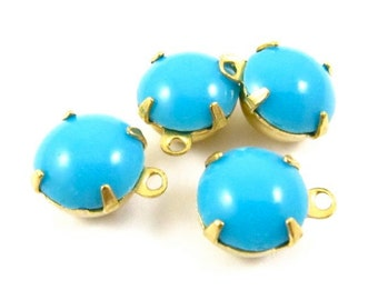 6 - Vintage Glass Round Stones in 1 RIng Closed Back Brass Prong Setting - Opaque Sky Blue - 8mm
