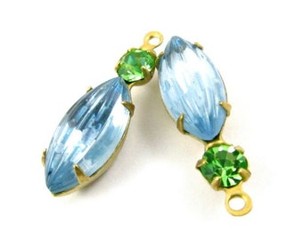 2 - Vintage Glass Round and Navette Stones in 1 Ring 2 Stones Brass Prong Settings - Light Sapphire & Peridot - 23x7mm