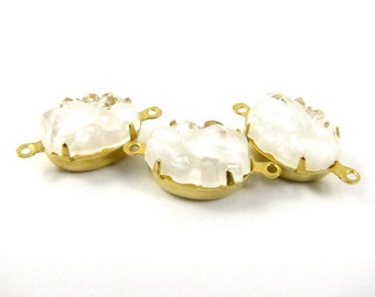 2 - VIntage Oval Bumpy Glass Stones in 2 Rings closed Back Brass Prong Settings - White - 14x10mm
