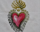 Sacred Heart Dish Towel Hand Silk Screened and Hand Painted
