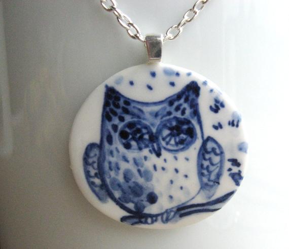 Delft Blue Owl - Porcelain Pendant Necklace