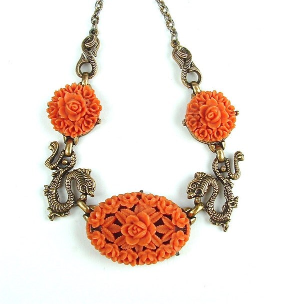 Vintage Necklace Coral Carved Celluloid Jewelry - Exotic Dragons and Roses